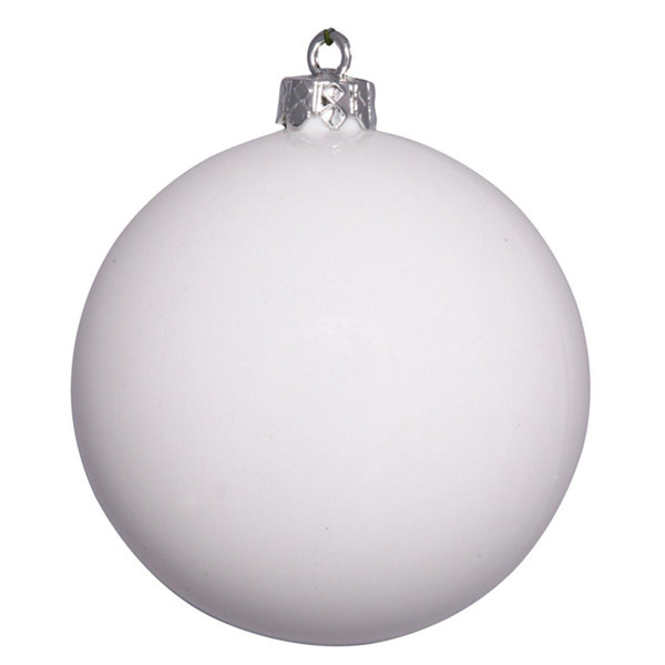 "Shiny White UV Resistant Commercial Drilled Shatterproof Christmas Ball Ornament 10"" (250mm)"""