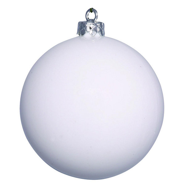 "Shiny White UV Resistant Commercial Drilled Shatterproof Christmas Ball Ornament 8"" (200mm)"""