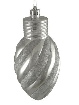 """Silver Glitter Stripe Shatterproof Light Bulb Christmas Ornament 11"""""""