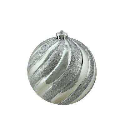 """Silver Splendor Glitter Swirl Shatterproof Christmas Ball Ornament 5.5"""" (140mm)"""""""