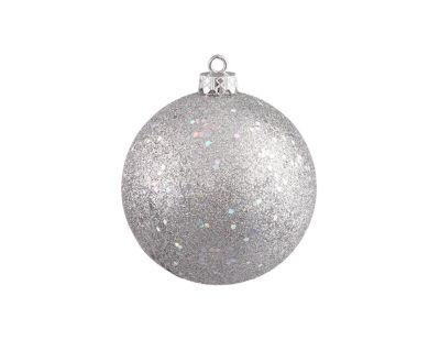 """Silver Splendor Holographic Glitter Commercial Shatterproof Christmas Ball Ornament 10"""" (250mm)"""""""