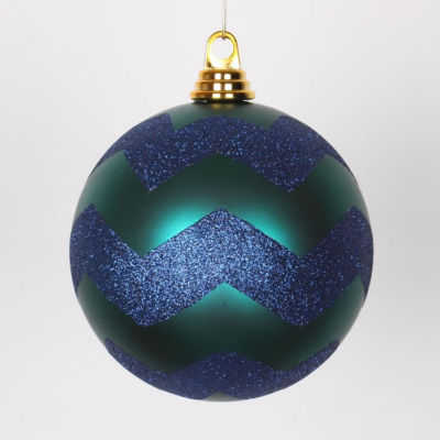 "Teal Green Matte with Sea Blue Glitter Chevron Commercial Size Christmas Ball Ornament 6"" (150mm)"""