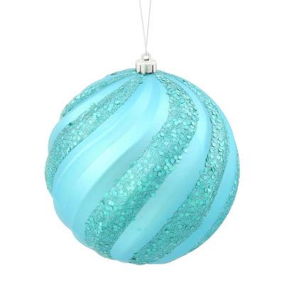 "Turquoise Blue Glitter Swirl Shatterproof Christmas Ball Ornament 6"" (150mm)"""