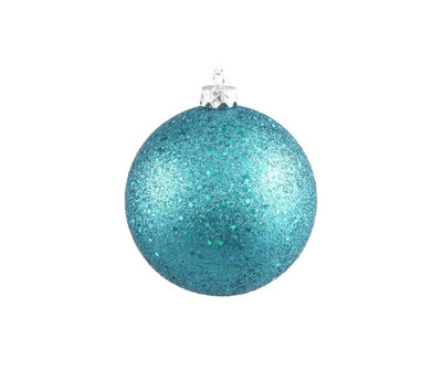 "Turquoise Blue Holographic Glitter Shatterproof Christmas Ball Ornament 4"" (100mm)"""
