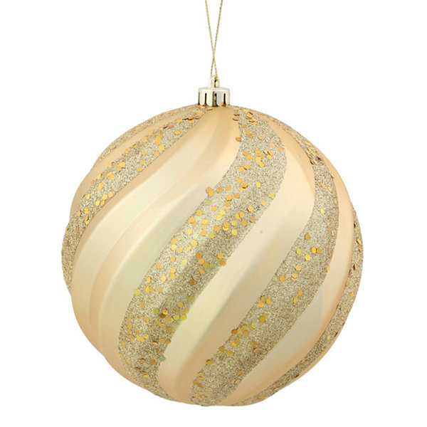 "Vegas Gold Glitter Swirl Shatterproof Christmas Ball Ornament 6"" (150mm)"""