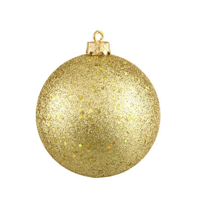 "Vegas Gold Holographic Glitter Shatterproof Christmas Ball Ornament 4"" (100mm)"""
