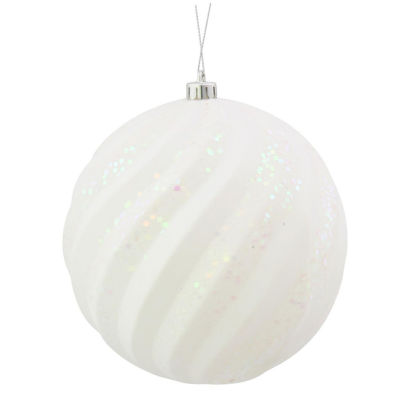 "Winter White Glitter Swirl Shatterproof Christmas Ball Ornament 6"" (150mm)"""
