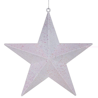 """Winter White Matte & Glitter Shatterproof Star Christmas Ornament 6"""""""
