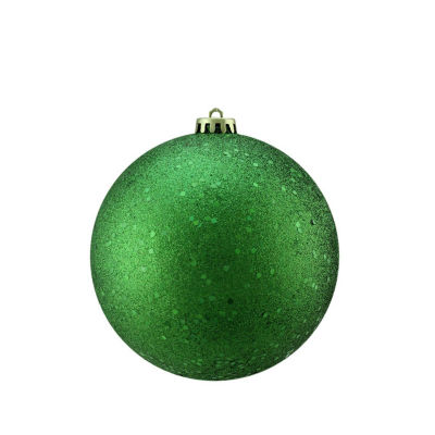 "Christmas Green Holographic Glitter Shatterproof Christmas Ball Ornament 4"" (100mm)"""