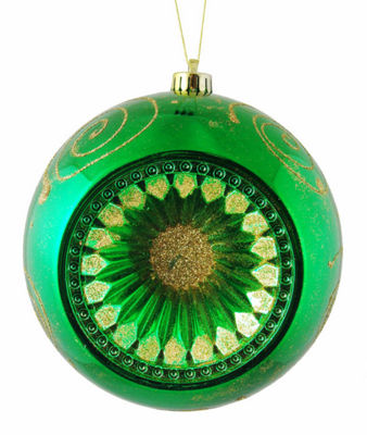 "Christmas Green Retro Reflector Shatterproof Christmas Ball Ornament 8"" (200mm)"""