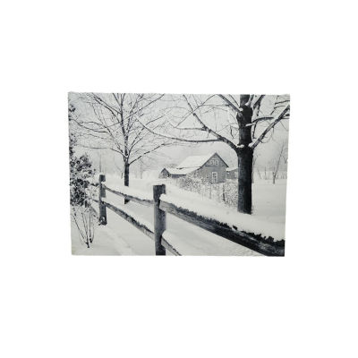 "Fiber Optic Lighted Snowfall Country Rustic Farmhouse Christmas Canvas Wall Art 11.75"" x 15.75"""