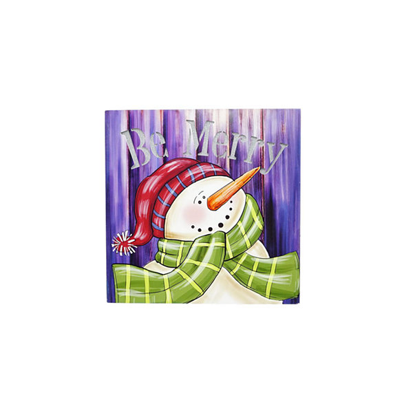 "LED Lighted ""Be Merry"" Smiling Snowman Christmas Canvas Wall Art 11.75"" x 11.75"""