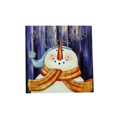 """LED Lighted """"Merry Christmas"""" Snowman Christmas Canvas Wall Art 11.75"""" x 11.75"""""""