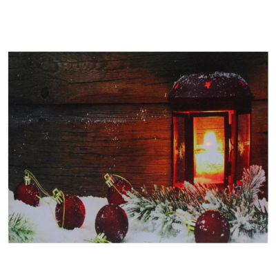 """LED Lighted Candle Lantern in the Wintry Outdoors Christmas Canvas Wall Art 12"""" x 15.75"""""""