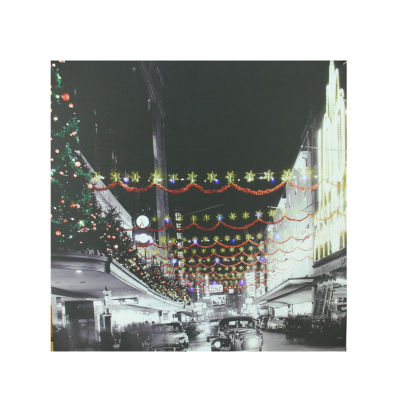 "LED Lighted Christmas on Main Street in Pittsburgh Canvas Wall Art 19.75"" x 19.75"""