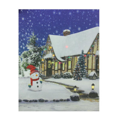 "LED Lighted Christmas Snowman with Decorated Home Canvas Wall Art 19.75"" x 23.5"""