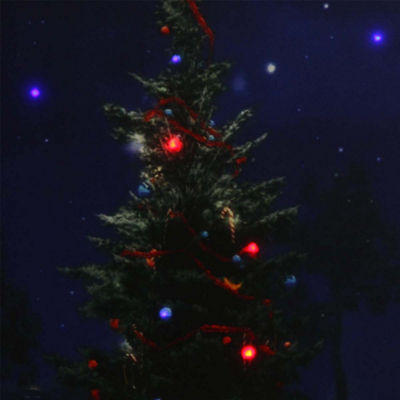 "LED Lighted Decorated Christmas Tree at Night with Stars Canvas Wall Art 15.75"" x 19.5"""