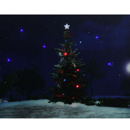 led lighted decorated christmas tree at night with stars canvas wall art 1575 x 195