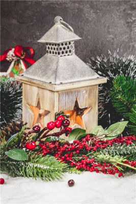 """LED Lighted Flickering Christmas Candle Lantern with Berries and Greenery 15.75"""" x 11.75"""""""