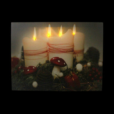 "LED Lighted Flickering Holiday Candles Christmas Canvas Wall Art 11.75"" x 15.75"""