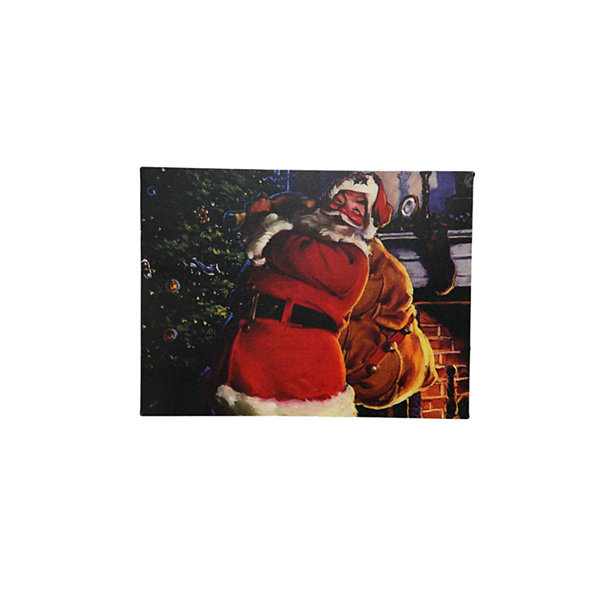 "LED Lighted Jolly Santa Claus with Bag of Gifts Christmas Canvas Wall Art 11.75"" x 15.75"""