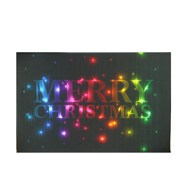 "LED Lighted Multi-Colored ""Merry Christmas"" Canvas Wall Art 8"" x 12"""
