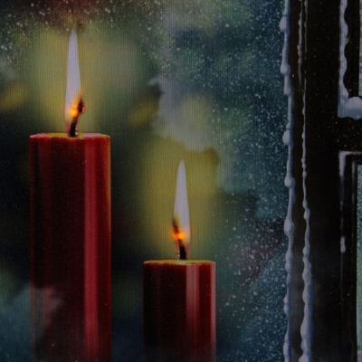 "LED Lighted Snowy Window Pane and Candles Christmas Canvas Wall Art 12"" x 15.75"""