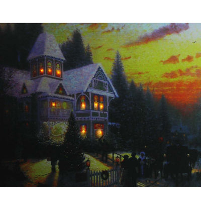 """LED Lighted Victorian Christmas at Sunset Canvas Wall Art 15.75"""" x 19.5"""""""