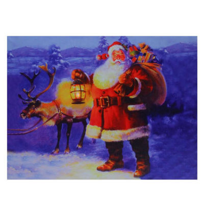 """LED Lighted Santa Claus with Reindeer Christmas Canvas Wall Art 11.75"""" x 15.75"""""""
