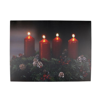"""LED Lighted Flickering Candle Wreath Christmas Canvas Wall Art 12"""" x 15.75"""""""