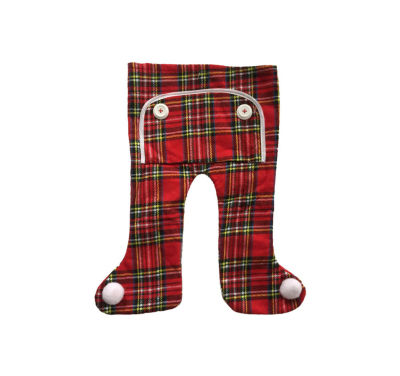 "16"" Traditional Red Plaid Long John Christmas Stocking with Pom Poms"