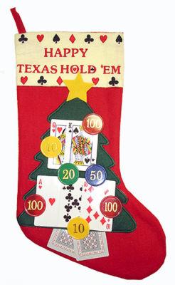 "17"" Happy Texas Hold 'Em Casino Gambling Christmas Stocking"