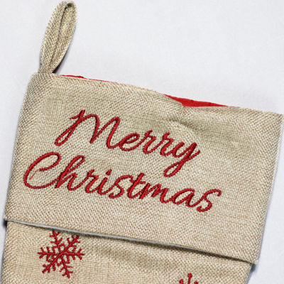 "18"" Burlap ""Merry Christmas"" Santa Claus Embroidered Christmas Stocking"