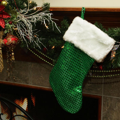 "18"" Green and White Faux-Fur Cuffed Disco Sequined Christmas Stocking"