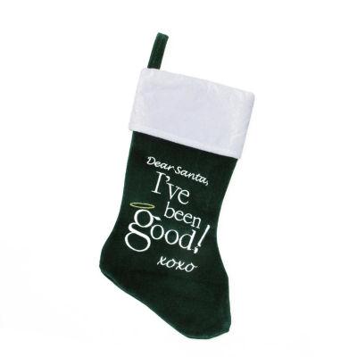 "18"" Green and White Velvet ""Dear Santa"" Halo Embroidered Christmas Stocking"
