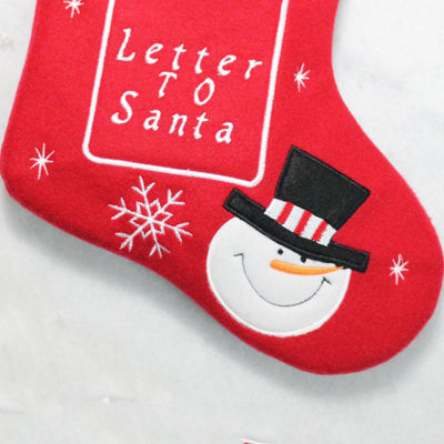 "18"" Red and White Embroidered Snowmen Letter to Santa Christmas Stocking"