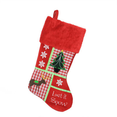 """18.5"""" Christmas Cheers Holiday Patches """"Let It Snow"""" Christmas Stocking"""