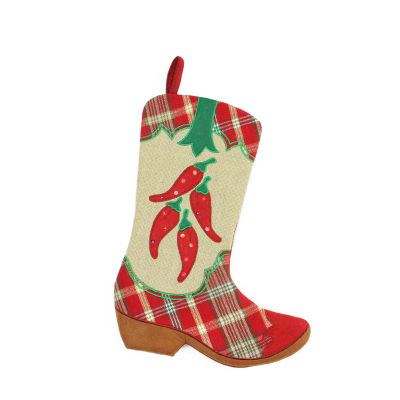 """18.5"""" Wild West Embroidered Chili Peppers Red Plaid and Brown Burlap Cowboy Boot Christmas Stocking"""