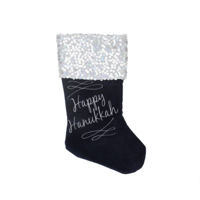 "19"" Navy and Silver ""Happy Hanukkah"" Square Sequin Cuffed Embroidered Velvet Stocking"