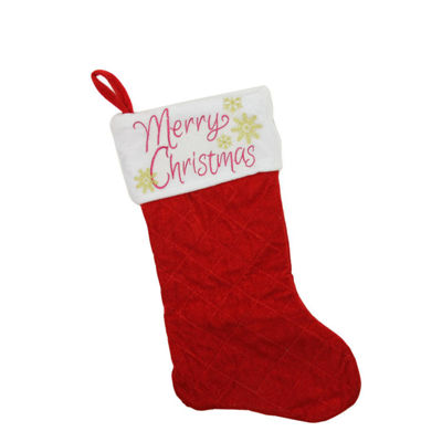 "19"" Quilted Red Velvet ""Merry Christmas"" Embroidered Christmas Stocking"
