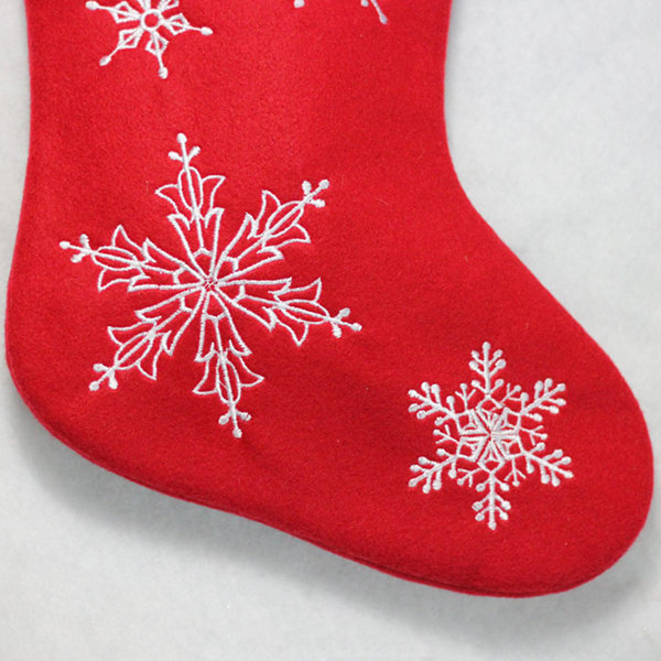 "19"" Red and White ""Merry Christmas"" Snowflake Embroidered Christmas Stocking"