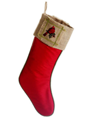 """19"""" Red Cardinal & Holly Leaf Country Burlap Christmas Stocking"""