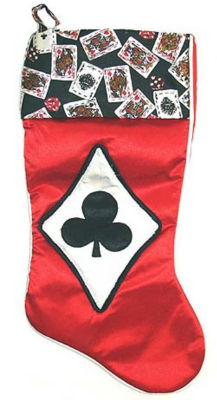 """19"""" Satin Deck of Cards Clubs Casino Gambling Red Christmas Stocking"""