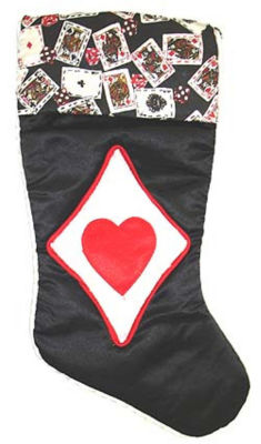"19"" Satin Deck of Cards Hearts Casino Gambling Black Christmas Stocking"