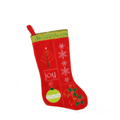 """19"""" Traditional """"Joy"""" Red and Green Embroidered Cuffless Christmas Stocking"""