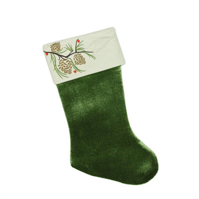 "19"" Traditional Green Pine Cone Suede Cuff Christmas Stocking"