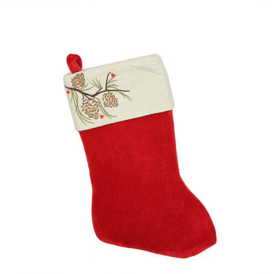 """19"""" Traditional Red Pine Cone Suede Cuff Christmas Stocking"""