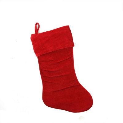 "19"" Traditional Solid Red Velvet Christmas Stocking"