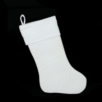 "19"" Traditional Solid White Velvet Christmas Stocking"