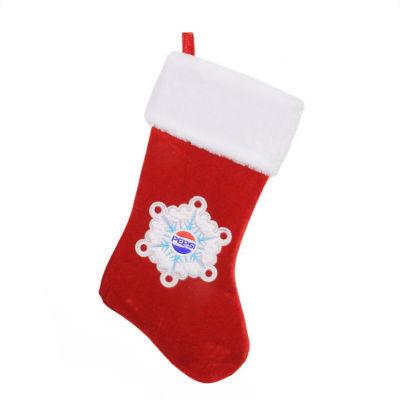"19.25"" Decorative Pepsi Snowflake Embroidered Christmas Stocking"